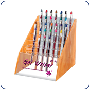 Writing pen display merchandiser. Simulated wood acrylic sides and back. Clear acrylic tiered pen holders and front.