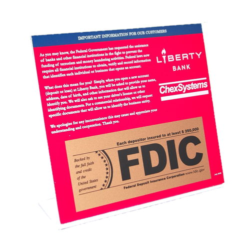 Counter top silkscreened information sign - financial services - fdic