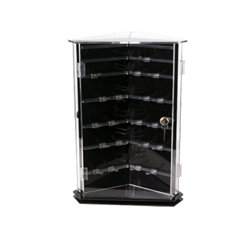 Counter top display merchandisers. Built with black and clear acrylic. Three sided with rotating base. Each side with locking face.